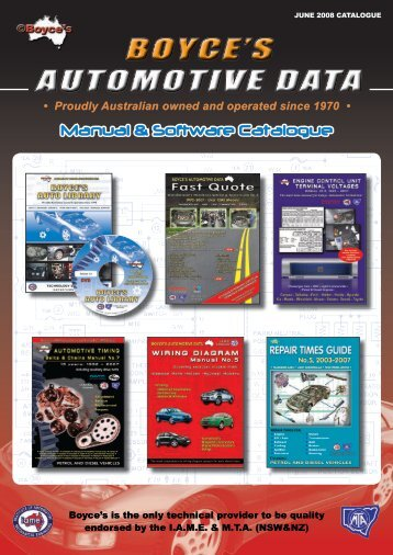 Manual & Software Catalogue - Boyce's Automotive Data