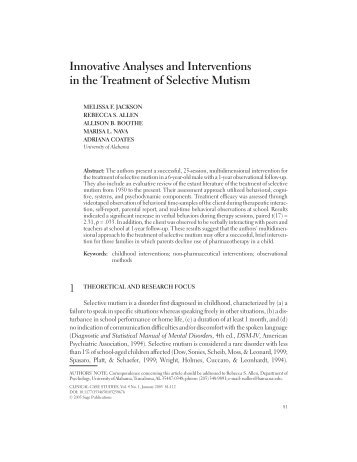 Innovative Analyses and Interventions in the Treatment of Selective ...