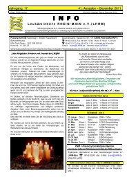 Dezember 2011 INFO - Leukämiehilfe RHEIN-MAIN geV