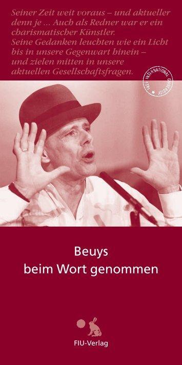 Beuys beim Wort genommen - FIU-Verlag