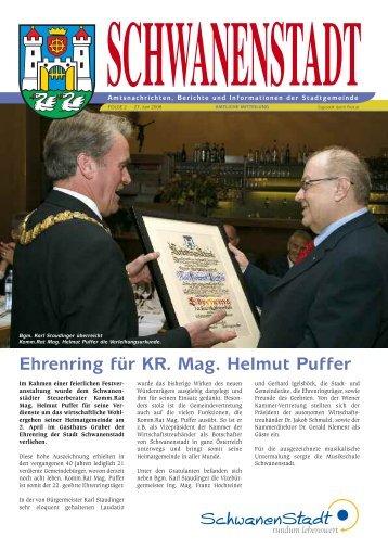 Ehrenring für KR. Mag. Helmut Puffer - Schwanenstadt
