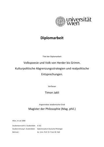 Diplomarbeit - Leben und Werk des Dichters Gottfried August Bürger