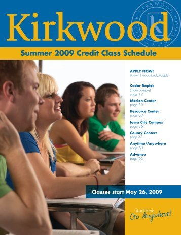 Summer 2009 Credit Class Schedule - Kirkwood Community College