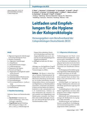 Leitfaden und Empfeh- lungen für die Hygiene in der Koloproktologie