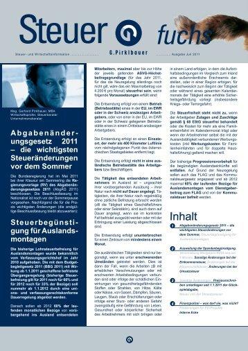 Abgabenänder- ungsgesetz 2011 – die wichtigsten - Pirklbauer