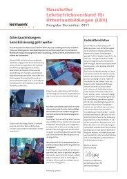 Newsletter Lehrbetriebsverbund für Attestausbildungen ... - Lernwerk