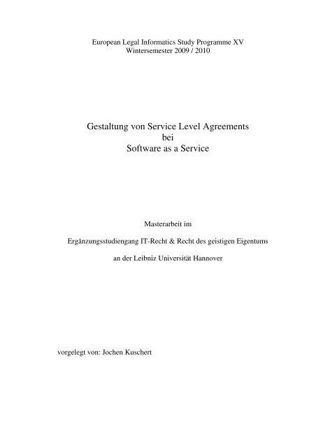 Gestaltung von Service Level Agreements bei Software as a Service