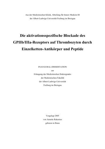 Die aktivationsspezifische Blockade des GPIIb/IIIa-Rezeptors auf ...