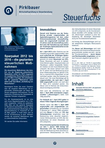Sparpaket 2012 bis 2016 – die geplanten steuerlichen ... - Pirklbauer