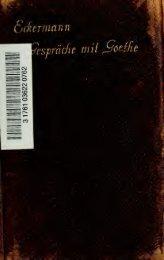 Gespräche mit Goethe in den letzten Jahren seines Lebens ...