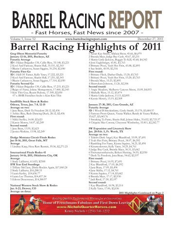 Barrel Racing Highlights of 2011 - Barrel Racing Report