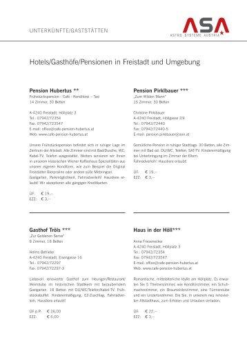Hotels/Gasthöfe/Pensionen in Freistadt und Umgebung