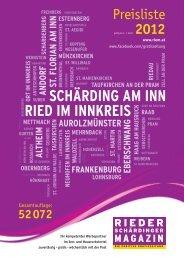 Preisliste 2012 - Rieder Schärdinger Magazin