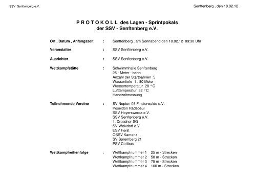 P R O T O K O L L  des Lagen - Sprintpokals der SSV - Senftenberg ...