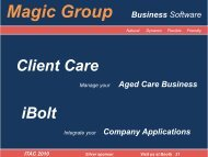Magic Rosters - ITAC 2010 Information Technology in Aged Care