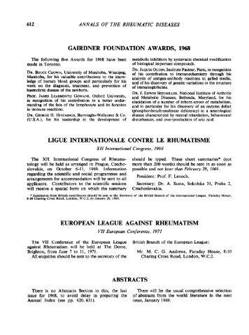 gairdner foundation awards, 1968 ligue internationale contre le ...
