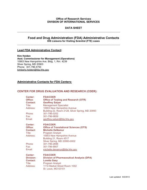 FDA Contacts - NIH Division of International Services