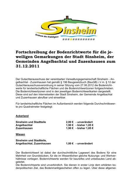 Fortschreibung Der Bodenrichtwerte Fur Die Je Stadt Sinsheim