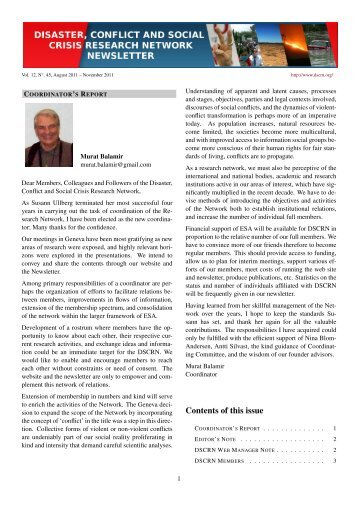 Newsletter 45, August 2011 - Disaster, Conflict and Social Crisis ...