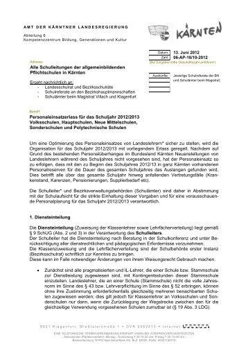 Personaleinsatz-Erlass 2012/2013