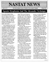 Spastic Dysphonia And The Alexander Technique - Jean McClelland