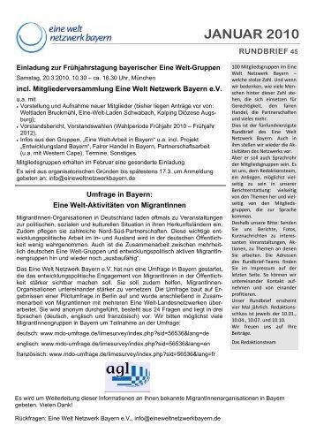 JANUAR 2010 - Eine Welt Netzwerk Bayern