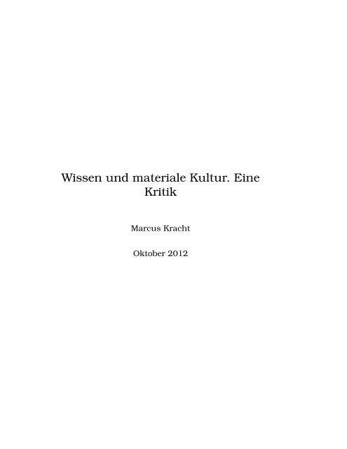 Wissen und materiale Kultur. Eine Kritik - Fehler/Fehler