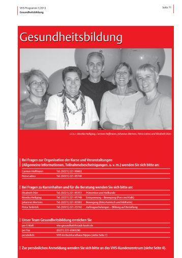 VHS-Programm 1-2013: Gesundheitsbildung - Stadt Köln