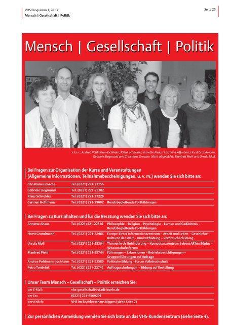 VHS-Programm 1-2013: Mensch-Gesellschaft-Politik - Stadt Köln