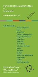 """Regionalkonferenz """"Unterer Neckar"""" - Volkshochschule Heidelberg"""