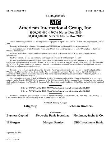 American International Group, Inc. - Irish Stock Exchange