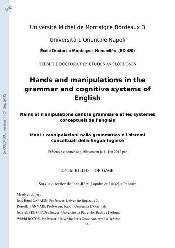 Mains et manipulations dans la grammaire et les systèmes ...