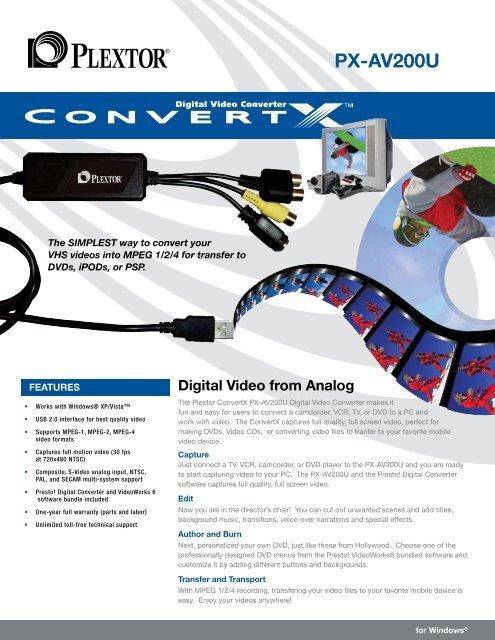 Plextor ConvertX PX-AV200U Video Converter Drivers PC