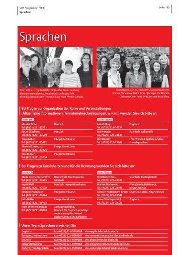 VHS-Programm 1-2013: Sprachen - Stadt Köln