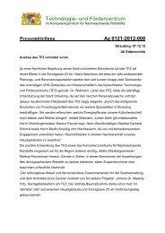Technologie- und Förderzentrum Pressemitteilung Az 0121-2012-008