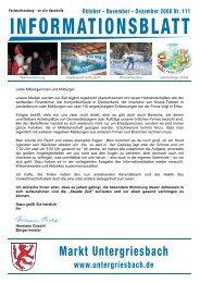 Informationsblatt IV 2008 - Markt Untergriesbach Homeseite ...