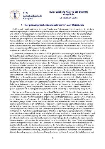5. Der Neuansatz Friedrich von Weizsäckers - VHS - Reinhart Gruhn
