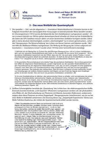 Texte zur Kopenhagener Deutung - VHS - Reinhart Gruhn