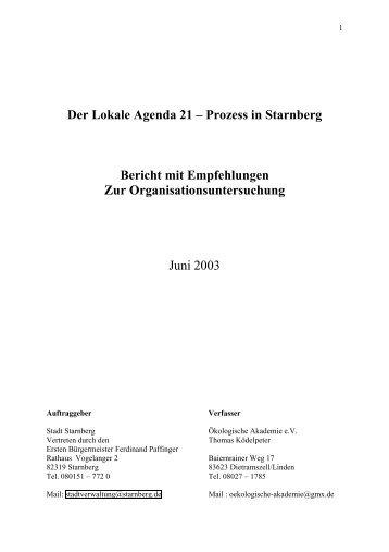 Der Lokale Agenda 21 – Prozess in Starnberg ... - Stadt Starnberg