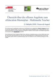 Übersicht über die offenen Angebote zum eEducation-Masterplan ...
