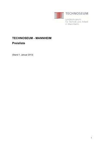 TECHNOSEUM - MANNHEIM Preisliste
