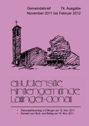 Gemeindebrief 74. Ausgabe November 2011 bis Februar 2012