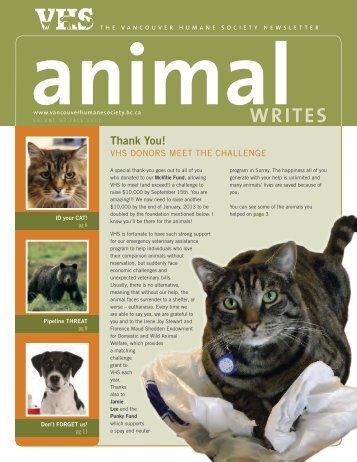 FAll 2012 - Vancouver Humane Society
