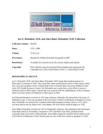 Joe E. Holoubek, MD and Alice Baker Holoubek - LSUHSC-S ...