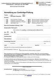 Merkblatt für die Anmeldung zur Cambridge-Prüfung 2012