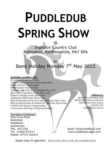 Puddledub Shows - British Horse Society Scotland