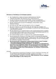 Hinweise zur Anmeldung von Einbürgerungstests: • Der ...