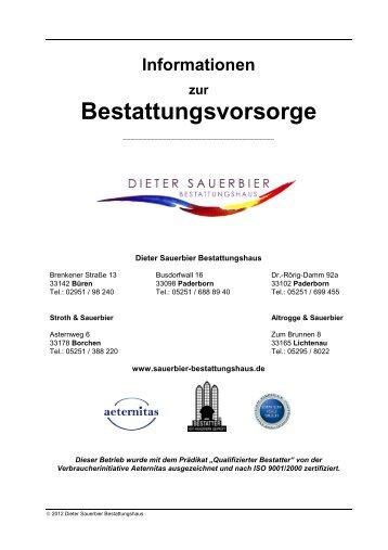 Informationen zur Bestattungsvorsorge - Bestattungshaus Sauerbier