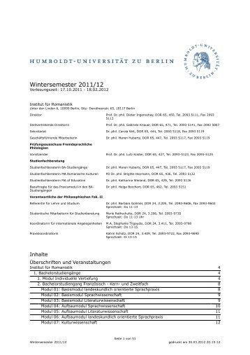 Wintersemester 2011/12 - Institut für Romanistik - Humboldt ...