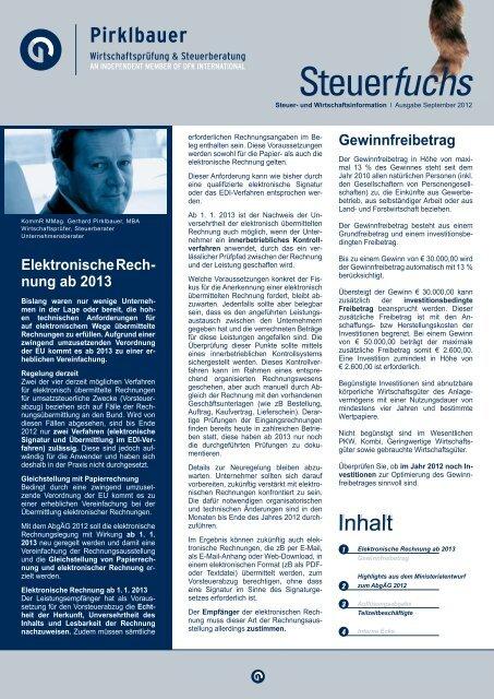 Elektronische Rech- nung ab 2013 Gewinnfreibetrag - Pirklbauer